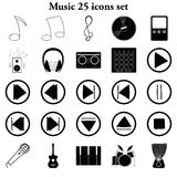 Music 25 simple icons set. Music and dj's 25 simple icons set Royalty Free Stock Photography