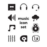 Music simple Icons set.Icons for mobile applications,website Royalty Free Stock Image