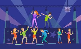 Music Singers Performing in Night Club Nightlife. Vector. People with microphones dancing and singing songs, stage with lights and disco ball decor stock illustration