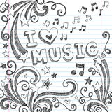 Music Sketchy Notebook Doodles Vector Illustration Stock Photography