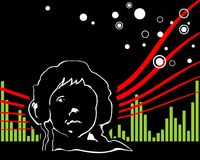 Music in the sky. White contour of the person in headphones on a black background with red and green strips Stock Photos