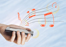 Music from smartphone Royalty Free Stock Photo