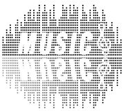 Music and sond. Text music and sound on background stock illustration
