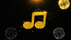Music song chord icon on firework display explosion particles. Object, shape, text, design, element, symbol 4k animation stock illustration