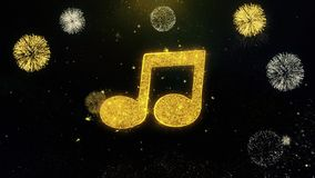 Music song chord icon on gold particles fireworks display. Music song chord icon on gold glitter particles spark exploding fireworks display . object, shape royalty free illustration