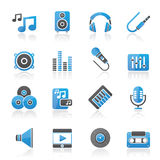 Music, sound and audio icons Stock Images