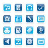 Music, sound and audio icons Stock Image
