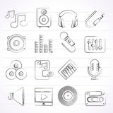 Music, sound and audio icons Stock Photos