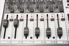 Music and sound. Control panel of an audio mixer Royalty Free Stock Photos