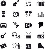 Music and sound icon set. Black and white set of glyph flat icons relating to music and sound Stock Image