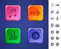 Music and sound icons Stock Images