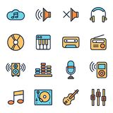 Music And Sound Icons. Set Collection Kit Royalty Free Stock Photo