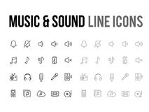 Music & sound vector line icon for app, mobile website responsiv. Music & sound vector line icon for the app, mobile website responsive Royalty Free Stock Photo