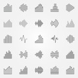 Music sound wave icons set. Vector audio waveforms concept symbols in thin line style Royalty Free Stock Photos