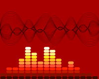 Music sound waves. Illustration of sound waves and equilizer on red background Royalty Free Stock Images