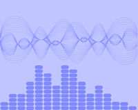 Music sound waves. Vector illustration of a sound wave background Royalty Free Stock Photo