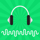 Music Sound Waves and Earphones Abstract Flat Vector Background Royalty Free Stock Photo