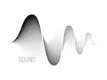 Music sound waves. Halftone vector. Music sound waves on white background. Halftone vector. RGB Global color Royalty Free Stock Photos