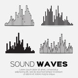 Music sound waves. Vector music sound waves set. Audio sound equalizer technology, pulse musical. Vector illustration Stock Photo