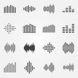 Music soundwave or equalizer icons set Stock Photo