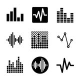 Music soundwave icons set Royalty Free Stock Photos