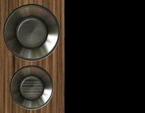 Music speaker. Wooden music speaker with chrome speakers inset and copy space Stock Image