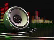 Music speaker. 3d illustration of speaker and audio spectrum over dark background Royalty Free Stock Photo