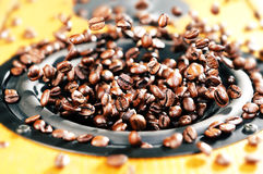 Music speaker explosion of coffee beans, concept Stock Image
