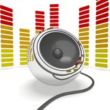 Music Speaker And Graphic Equalizer Shows Pop Or Audio Stock Photography