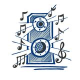 Music speaker vector sketch. Hand drawn. Sounds of music in the form of notes vector illustration