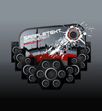 Music speakers bloody design element. Vector illustration of a modern urban music design element with speakers boxes, ink splatter and aged label Stock Photography