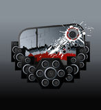 Music speakers bloody design element. Vector illustration of a modern urban music design element with speakers boxes, ink splatter and aged label Royalty Free Stock Image