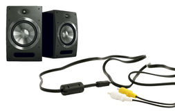Music speakers and cables Royalty Free Stock Image