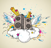 Music speakers and cloud Stock Images