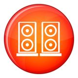 Music speakers icon, flat style Royalty Free Stock Photography