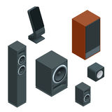 Music speakers isolated on white background and music speakers vector icon. Flat music speakers audio, loudspeaker bass Stock Photo