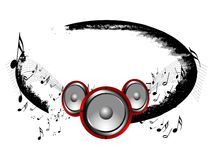 Music. Speakers with music notes on grunge background Stock Photo