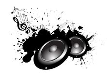 Music. Speakers with music notes on grunge background Royalty Free Stock Photography