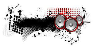 Music. Speakers with music notes on grunge and halftone background Royalty Free Stock Photos