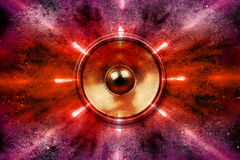 Music speakers and party lights Royalty Free Stock Images