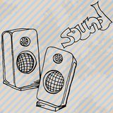 Music speakers retro hand drawn design card Royalty Free Stock Photo