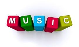 Music spelled in blocks Stock Photos