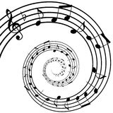Music spiral. Black and white music spiral background Royalty Free Stock Images