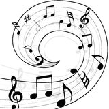 Music spiral. Black and white music spiral background illustration Royalty Free Stock Images