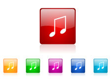 Music square web glossy icon Royalty Free Stock Photo
