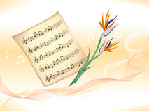 Music staff and flowers. Illustration of music staff and flowers in wavy background Royalty Free Stock Photography
