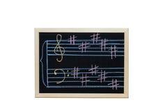 Music staff in key B  written on blackboard Stock Photo