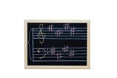Music staff in key E written on blackboard Stock Image