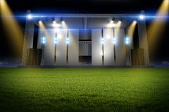 Music Stage on the Field. Stage on the Meadow. Concert Scene Illuminated by Colorful Light Beams Royalty Free Stock Photos