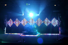 Music Stage With Flood and LED Lights. Music stage with different flood and LED lights stock photo